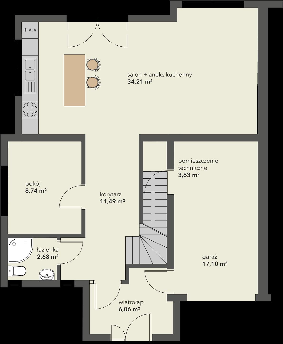 Rozkład pomieszczeń na parterze domu na sprzedaż