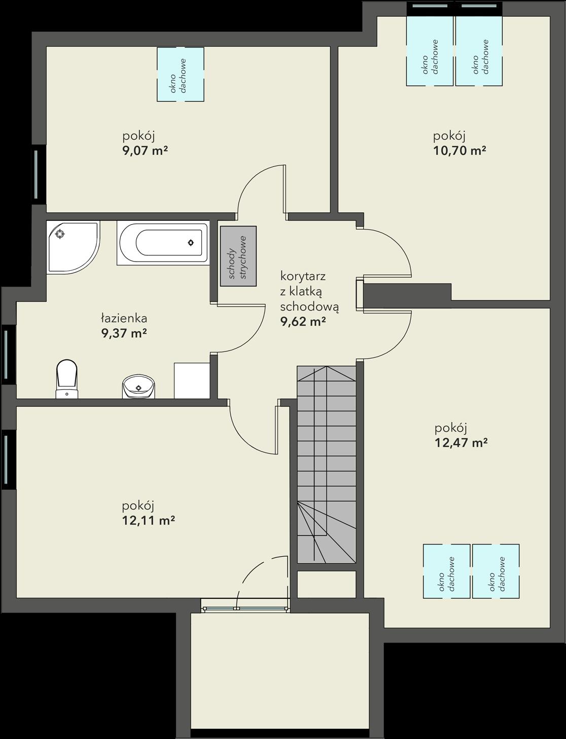 Rozkład pomieszczeń na piętrze domu na sprzedaż